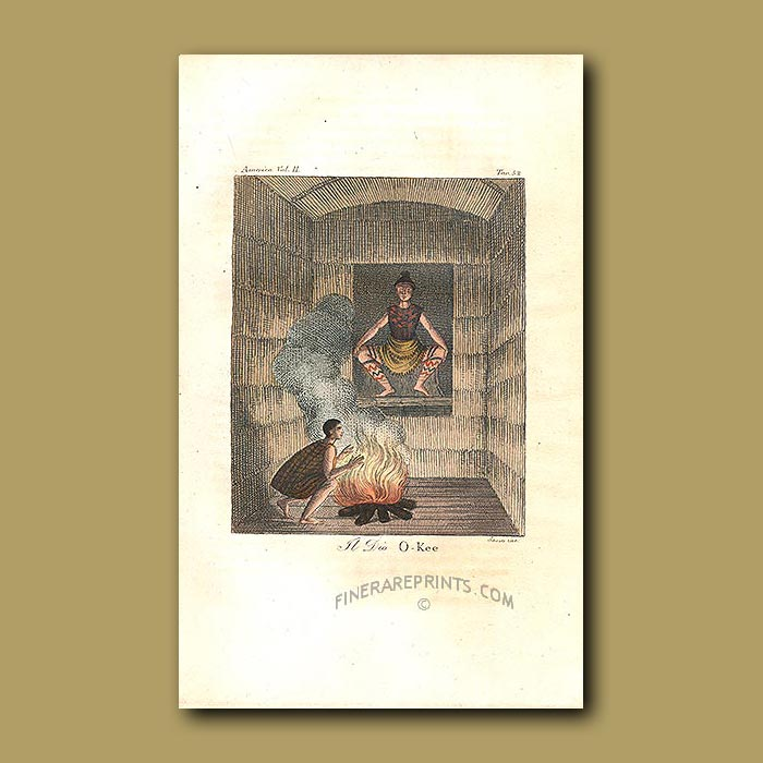 Antique print. The Okee spirit was considered the master of animals and was consulted frequently by the Powhatan In
