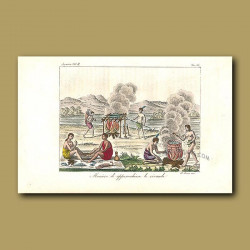 Native American Indians smoking and boiling fish
