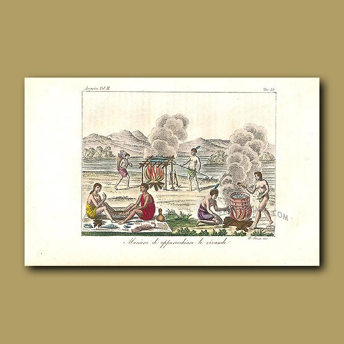 Antique print. Native American Indians smoking and boiling fish