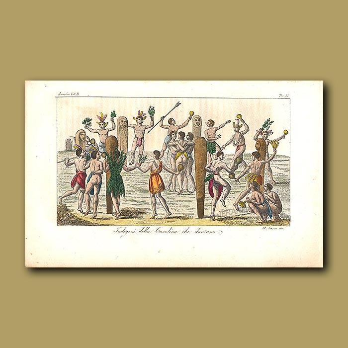 Antique print. Indigenous people of Carolina dancing, Powhatan Indian tribe