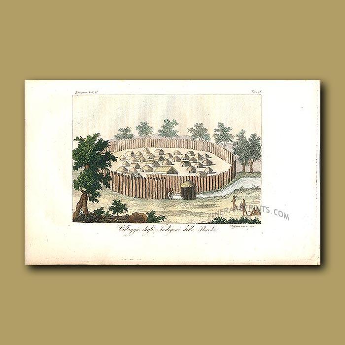 Antique print. Seminole Indian Village, Florida