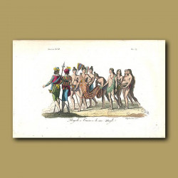 Seminole Indian Chief and his wives with Spanish Conquistadores, Florida