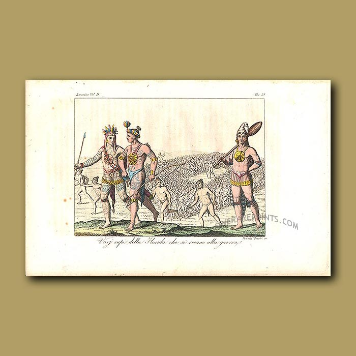 Antique print. Seminole Indian warriors with elaborate tattoos