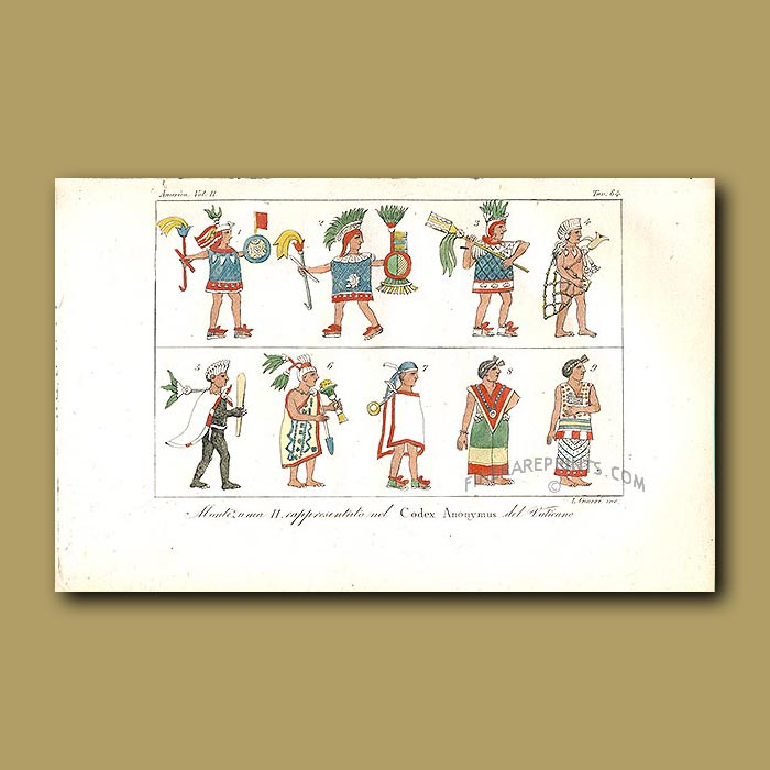 Antique print. Emperor Montezuma - as imagined by the Vatican