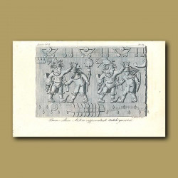 Bas-relief depicting Aztecs in battle with the Conquistadors