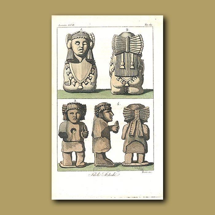 Antique print. Aztec idols