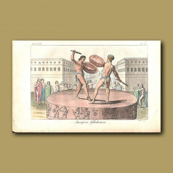 Aztec gladiators fighting to the death