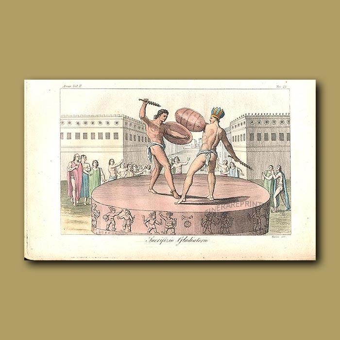 Antique print. Aztec gladiators fighting to the death