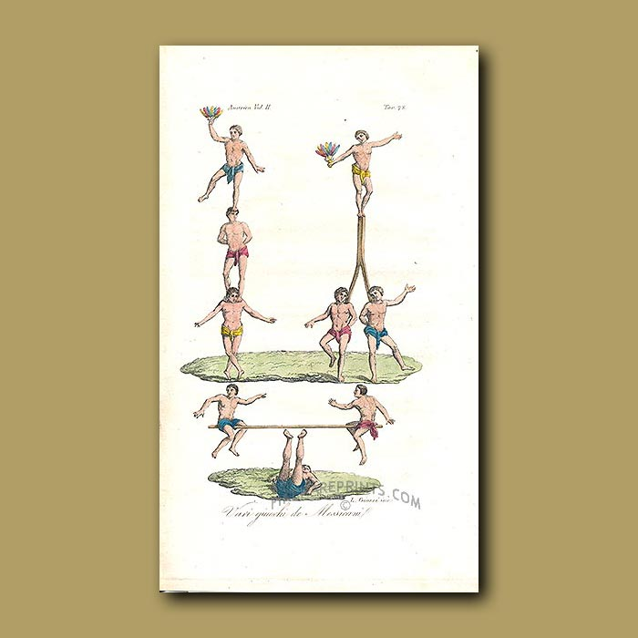 Antique print. Mexican acrobatic games