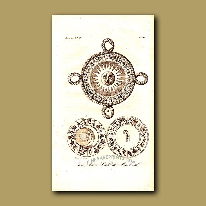 Antique print. The Aztec calendar: months, years and century's