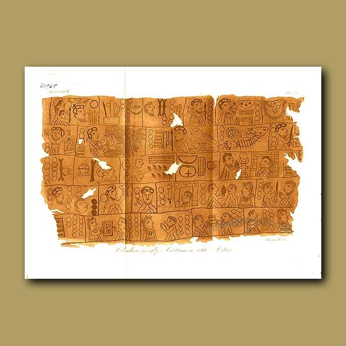 Antique print. Christian calendar in Aztec