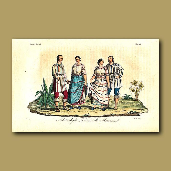 Antique print. Clothes of the Mexican Indians of Mecoacan