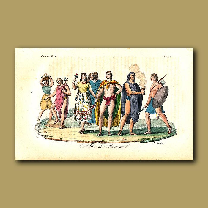Antique print. Mexican clothes before 1820