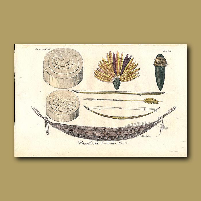Antique print. Canoe and hunting equipment from Brazil