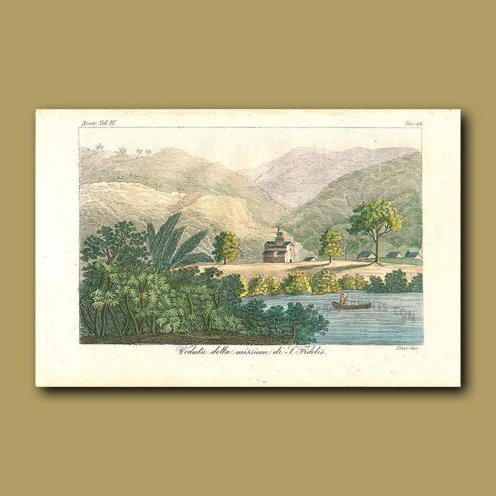 Antique print. View of the San Fidelis Mission on the banks of a river