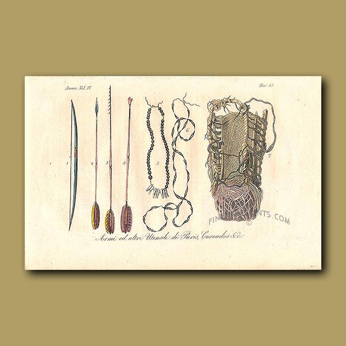 Antique print. Hunting utensils from Brazil