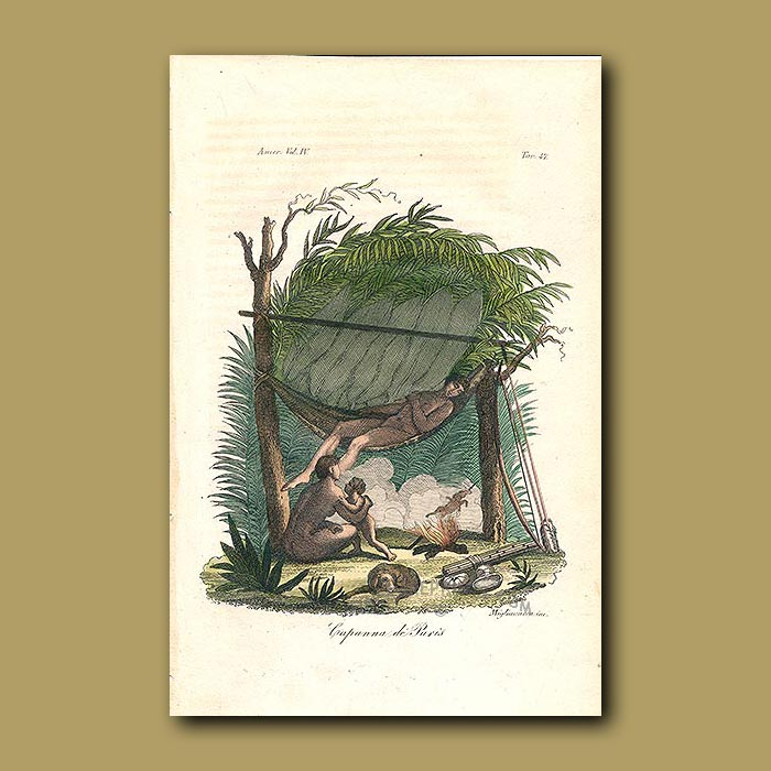 Antique print. Hut and hammock of the Puri Indians