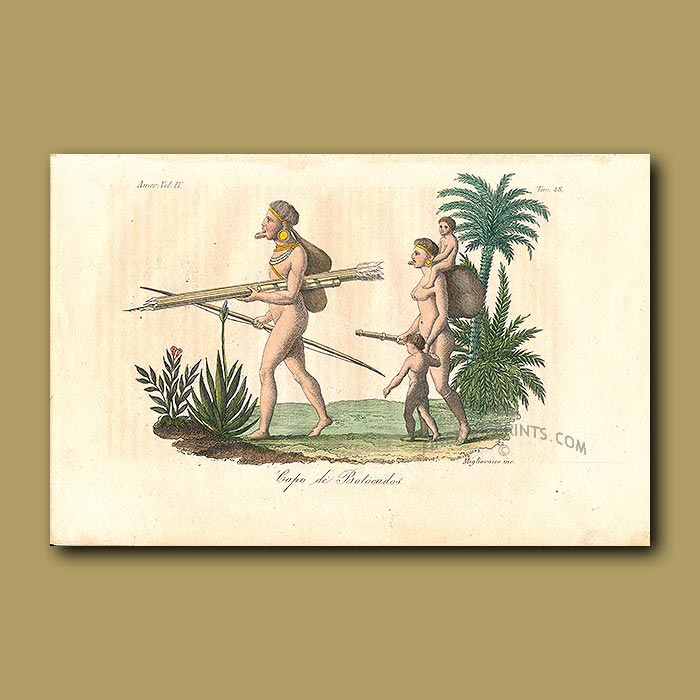 Antique print. Botocudos Indian family with bows and arrows