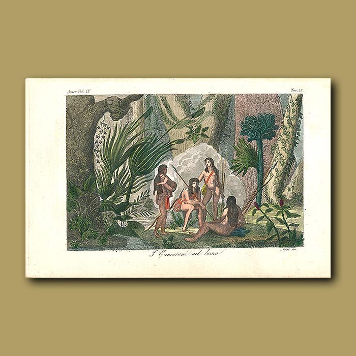 Antique print. Camacini Indians with baby hunting in the jungle