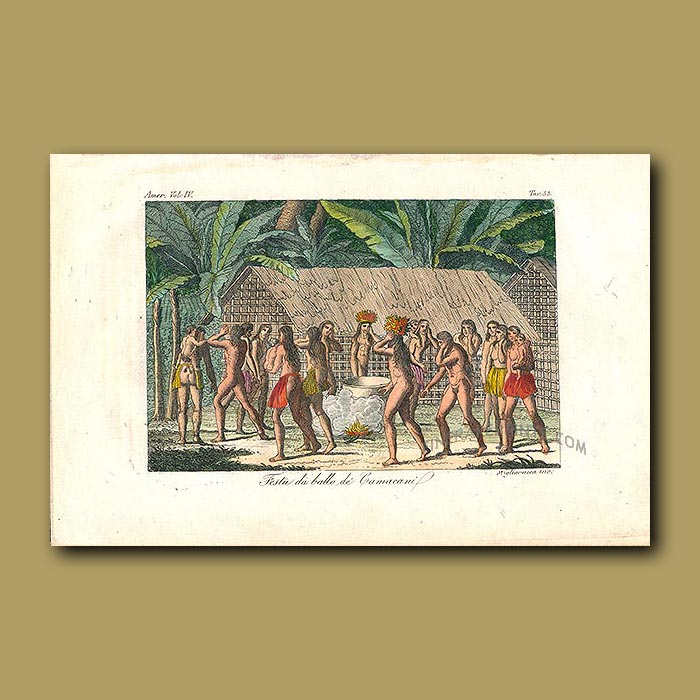 Antique print. Camacani Indians dancing around a fire