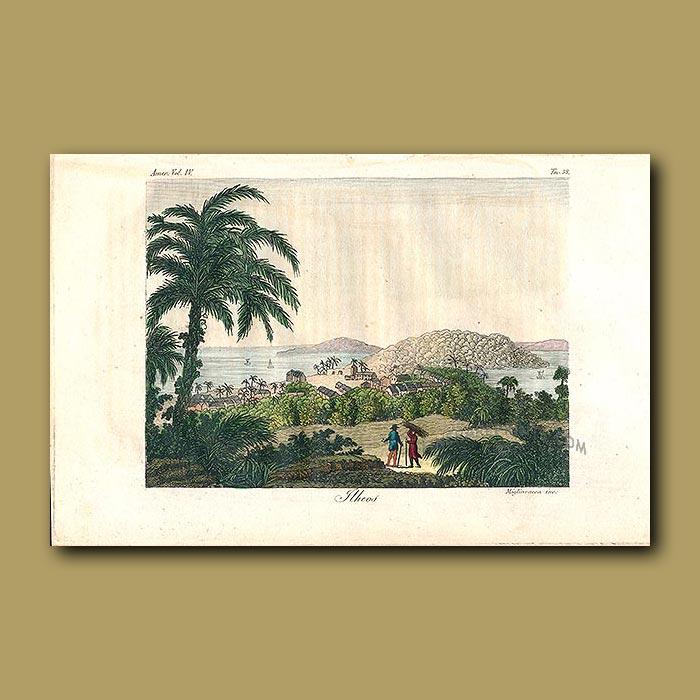 Antique print. View of Ilheos, Brazil