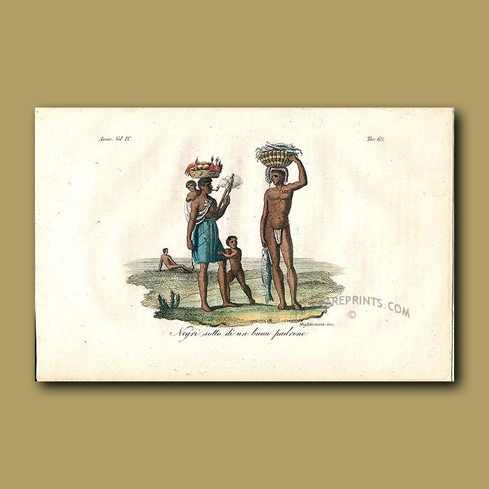 Antique print. Slaves carrying fruit and fish, one smoking a pipe