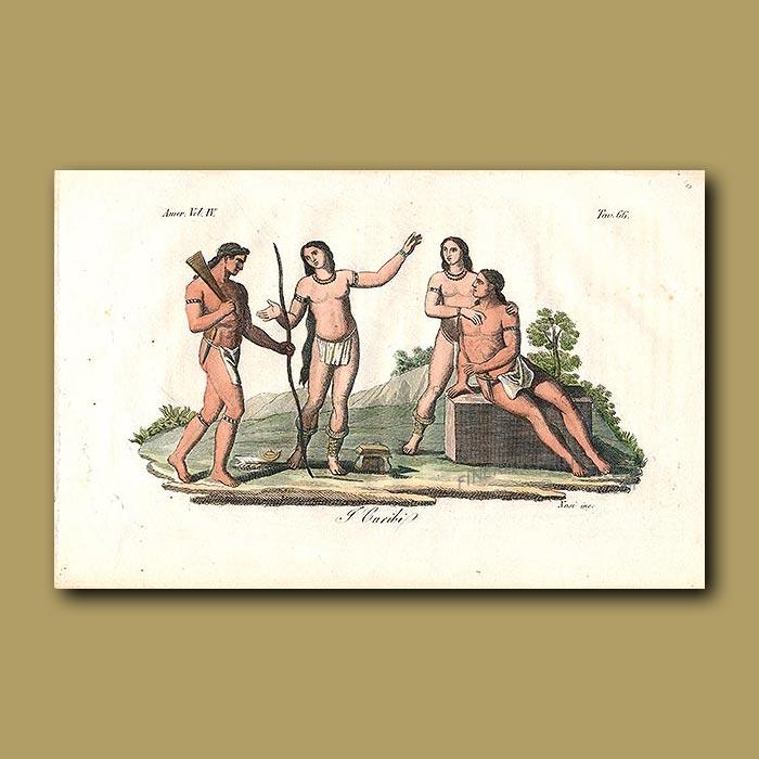 Antique print. Caribbean men and women