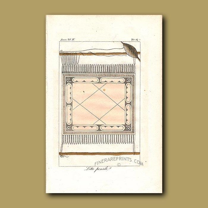 Antique print. Hammock