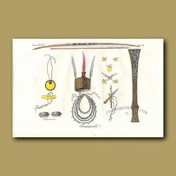 Ornaments including a headress, anklets and necklaces