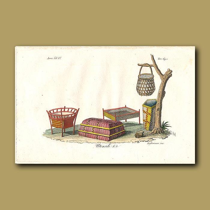 Antique print. Attractive woven baskets