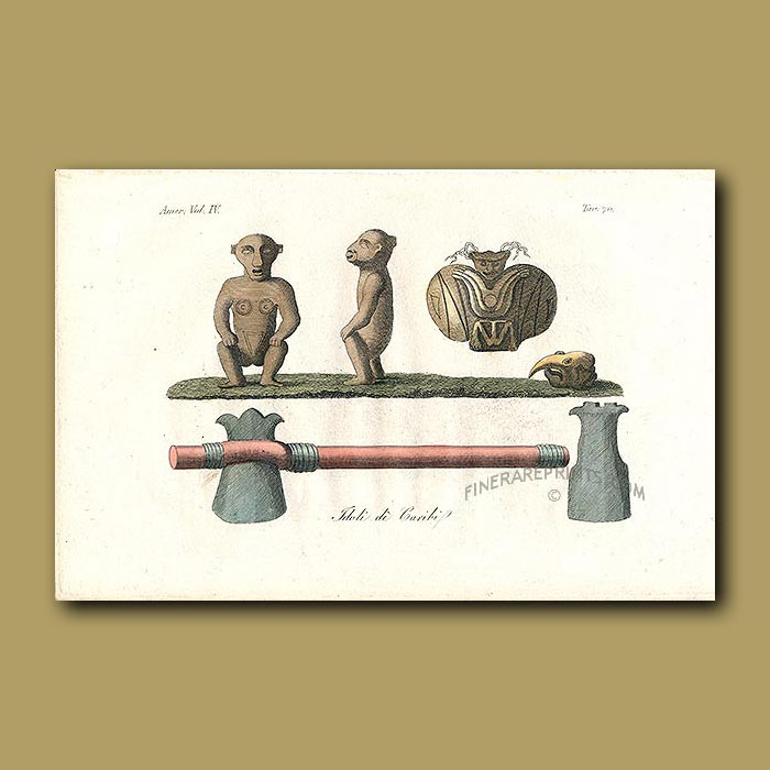 Antique print. Idols of the Caribbean people