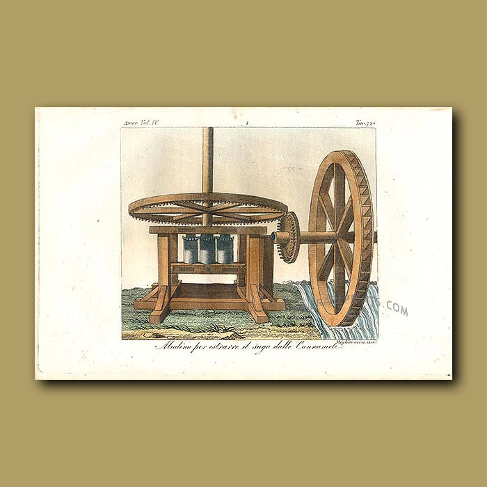 Antique print. Water wheel powered machine for extracting sugar from sugar canes