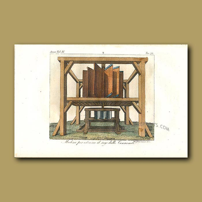 Antique print. Machine for extracting sugar from sugar canes