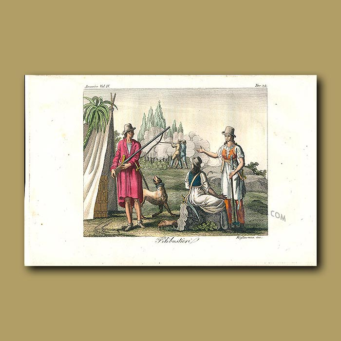 Antique print. Filibuster (adventurers attempting to overthrow a government)
