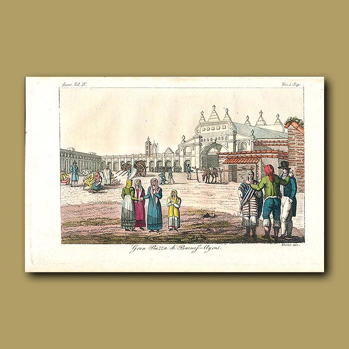 Antique print. Central square in Buenos Aires