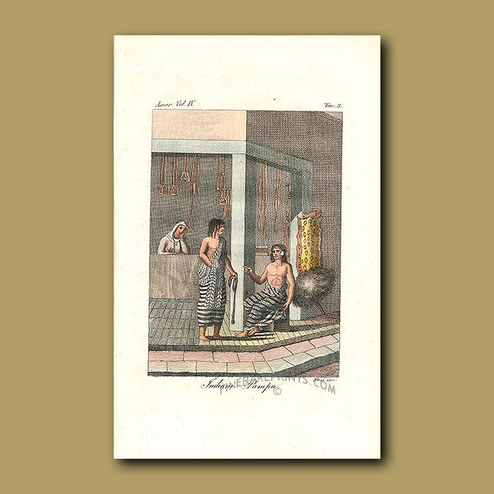 Antique print. Indians from the Pampas and shop selling horse tack