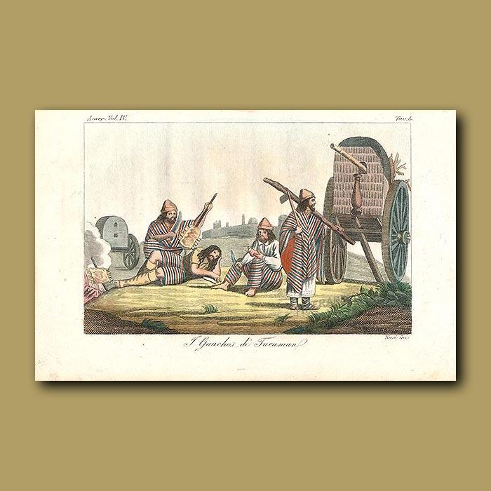 Antique print. Patagonian Indians