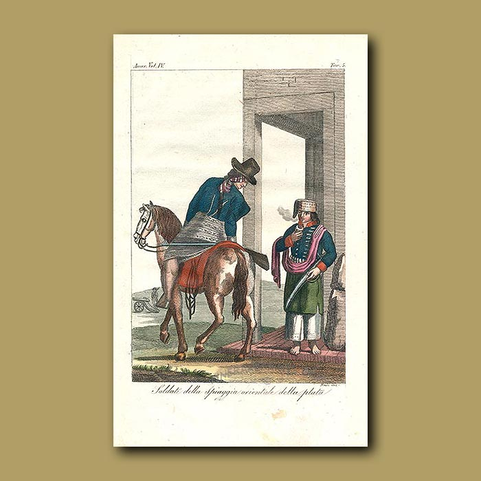 Antique print. Soldiers, one on horseback, one smoking a pipe