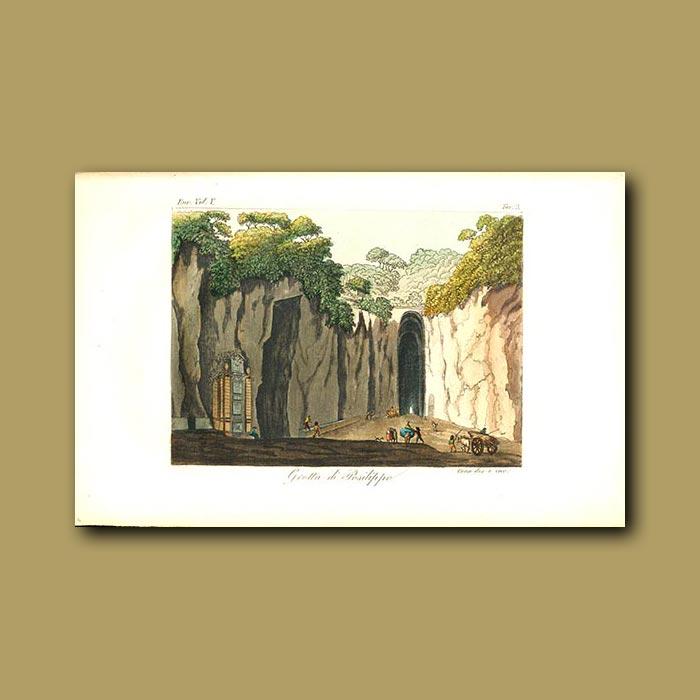 Antique print. Posilippo Cave (Virgil's Tomb)