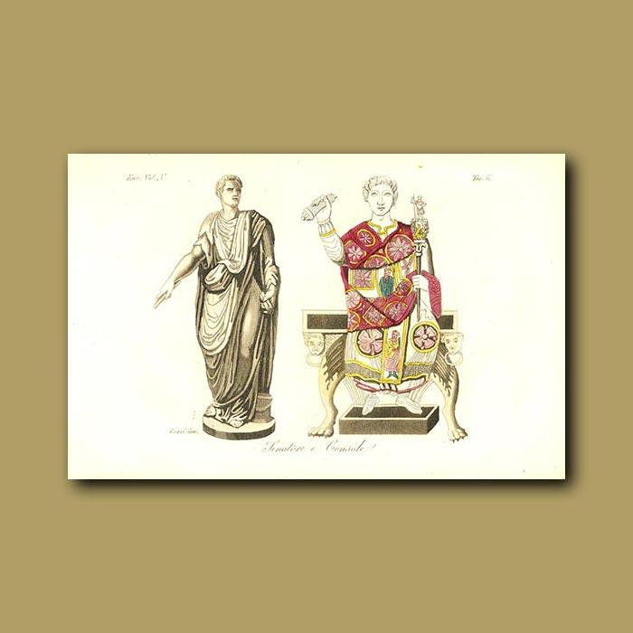 Antique print. Roman Senator