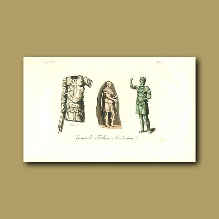 Antique print. Roman General, Tribune and Centurion