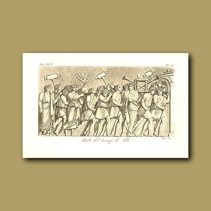 Antique print. Procession of the triumph of Tito