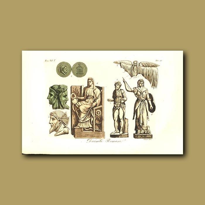 Antique print. Roman gods