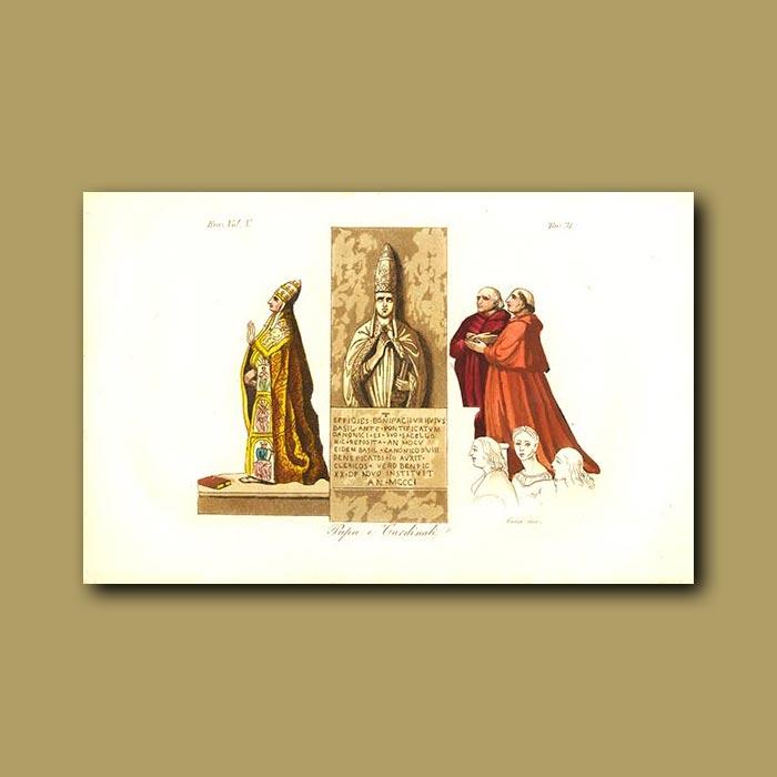 Antique print. Roman Popes