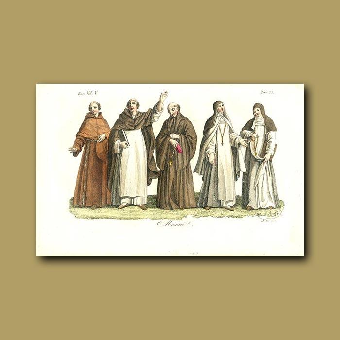 Antique print. Monks and Nuns