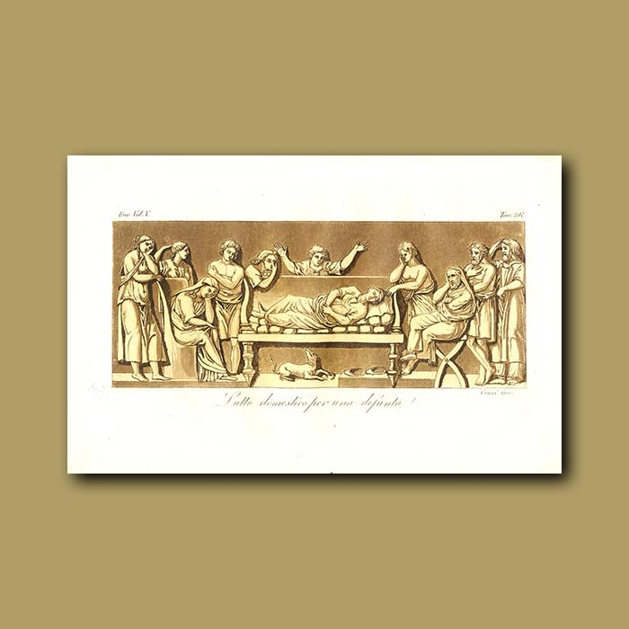 Antique print. Mourning for a deceased person