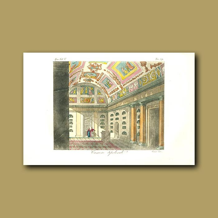 Antique print. Decorated Roman chambers