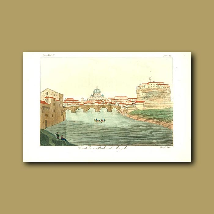 Antique print. Castle St. Angelo on the banks of the Tiber River