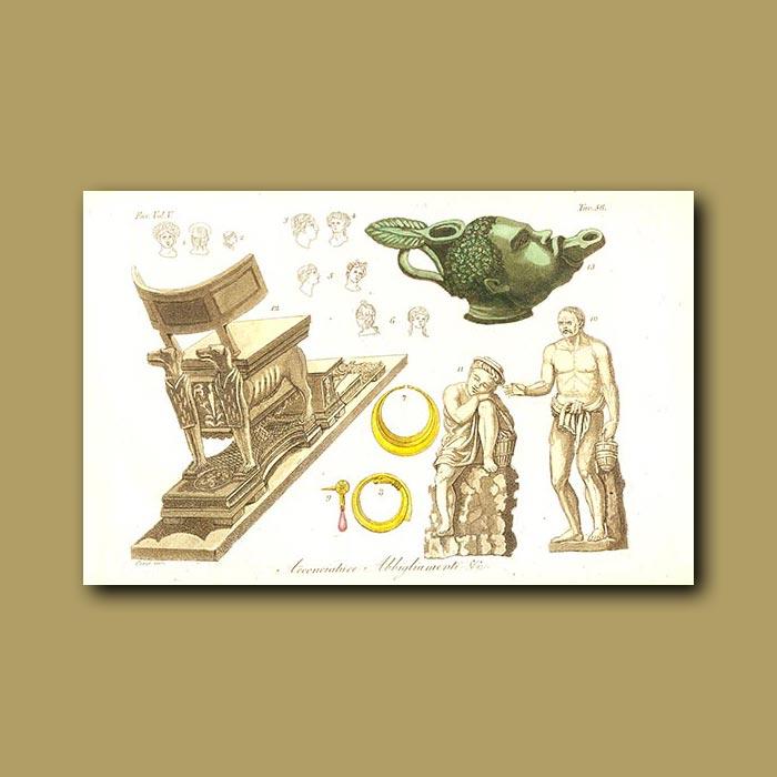 Antique print. Roman scuptures and furniture