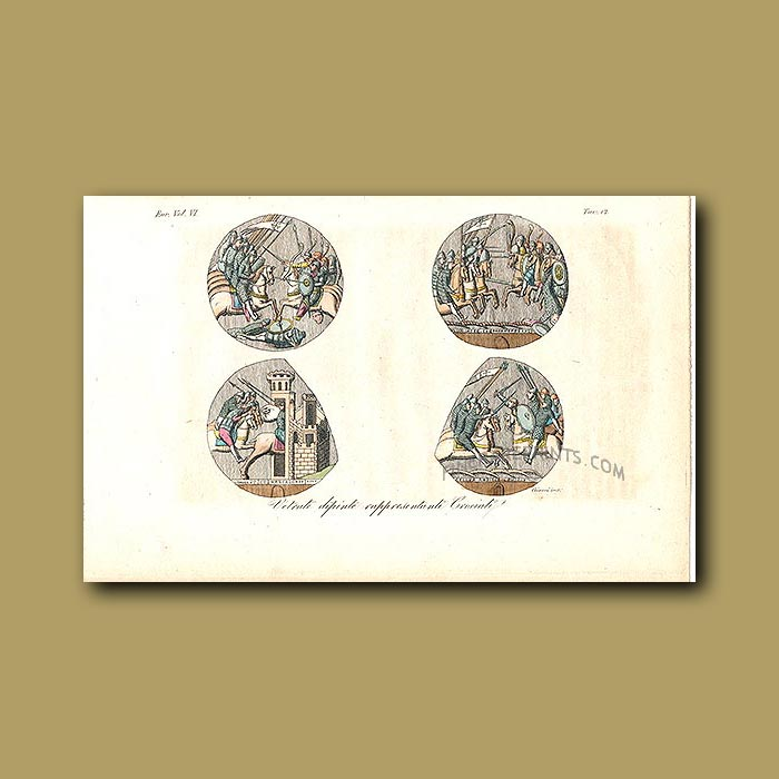 Antique print. Mediaeval Knights a.d.1031 to a.d.1060